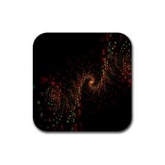 Multicolor Fractals Digital Art Design Rubber Square Coaster (4 pack)