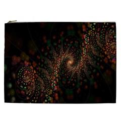 Multicolor Fractals Digital Art Design Cosmetic Bag (XXL)
