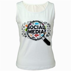 Social Media Computer Internet Typography Text Poster Women s White Tank Top