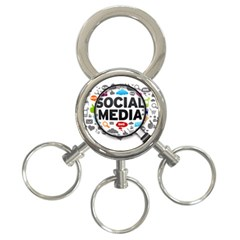 Social Media Computer Internet Typography Text Poster 3-Ring Key Chains