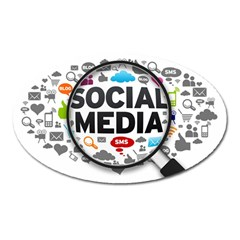 Social Media Computer Internet Typography Text Poster Oval Magnet