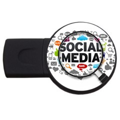 Social Media Computer Internet Typography Text Poster Usb Flash Drive Round (4 Gb)