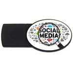 Social Media Computer Internet Typography Text Poster USB Flash Drive Oval (4 GB) Front