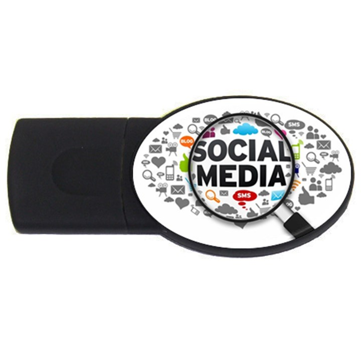 Social Media Computer Internet Typography Text Poster USB Flash Drive Oval (4 GB)