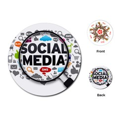 Social Media Computer Internet Typography Text Poster Playing Cards (Round)