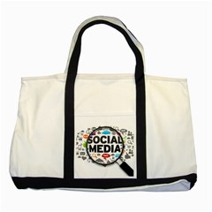 Social Media Computer Internet Typography Text Poster Two Tone Tote Bag