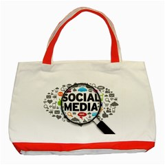 Social Media Computer Internet Typography Text Poster Classic Tote Bag (red)
