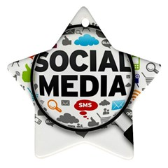 Social Media Computer Internet Typography Text Poster Star Ornament (two Sides)