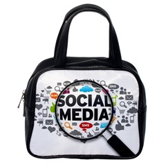 Social Media Computer Internet Typography Text Poster Classic Handbags (one Side)