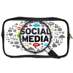 Social Media Computer Internet Typography Text Poster Toiletries Bags 2-Side