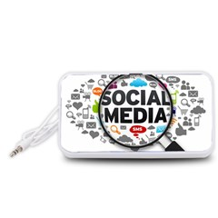 Social Media Computer Internet Typography Text Poster Portable Speaker (White)