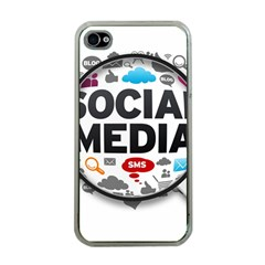 Social Media Computer Internet Typography Text Poster Apple iPhone 4 Case (Clear)