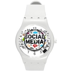 Social Media Computer Internet Typography Text Poster Round Plastic Sport Watch (m)