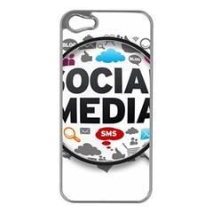 Social Media Computer Internet Typography Text Poster Apple iPhone 5 Case (Silver)