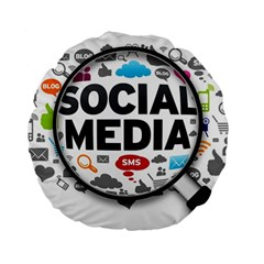 Social Media Computer Internet Typography Text Poster Standard 15  Premium Round Cushions