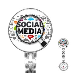 Social Media Computer Internet Typography Text Poster Stainless Steel Nurses Watch