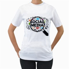 Social Media Computer Internet Typography Text Poster Women s T-Shirt (White)
