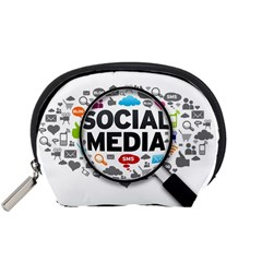 Social Media Computer Internet Typography Text Poster Accessory Pouches (Small)