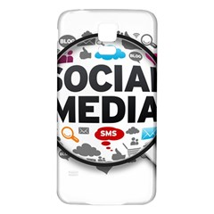 Social Media Computer Internet Typography Text Poster Samsung Galaxy S5 Back Case (White)