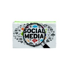 Social Media Computer Internet Typography Text Poster Cosmetic Bag (XS)