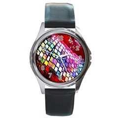 Multicolor Wall Mosaic Round Metal Watch