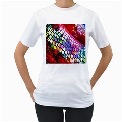 Multicolor Wall Mosaic Women s T Shirt (white) (two Sided)