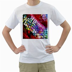 Multicolor Wall Mosaic Men s T-Shirt (White) (Two Sided)