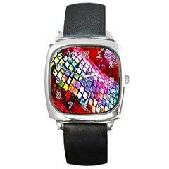 Multicolor Wall Mosaic Square Metal Watch