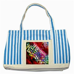 Multicolor Wall Mosaic Striped Blue Tote Bag
