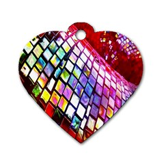 Multicolor Wall Mosaic Dog Tag Heart (One Side)