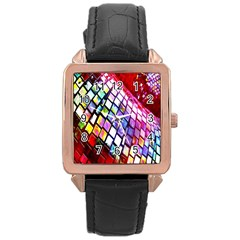 Multicolor Wall Mosaic Rose Gold Leather Watch