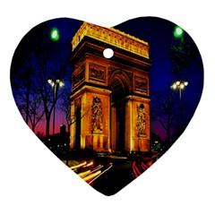Paris Cityscapes Lights Multicolor France Ornament (heart)