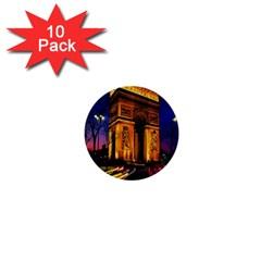 Paris Cityscapes Lights Multicolor France 1  Mini Buttons (10 pack)
