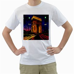 Paris Cityscapes Lights Multicolor France Men s T-Shirt (White) (Two Sided)