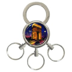 Paris Cityscapes Lights Multicolor France 3-Ring Key Chains