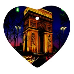 Paris Cityscapes Lights Multicolor France Heart Ornament (Two Sides)