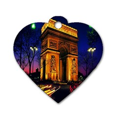 Paris Cityscapes Lights Multicolor France Dog Tag Heart (Two Sides)