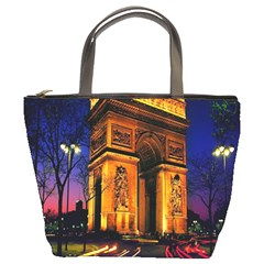 Paris Cityscapes Lights Multicolor France Bucket Bags