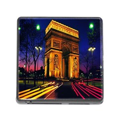 Paris Cityscapes Lights Multicolor France Memory Card Reader (square)