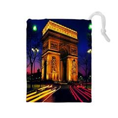 Paris Cityscapes Lights Multicolor France Drawstring Pouches (large)