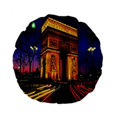 Paris Cityscapes Lights Multicolor France Standard 15  Premium Flano Round Cushions