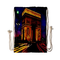 Paris Cityscapes Lights Multicolor France Drawstring Bag (Small)