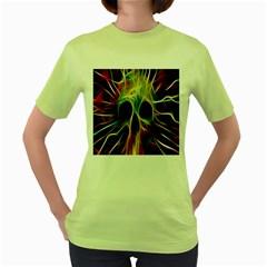 Skulls Multicolor Fractalius Colors Colorful Women s Green T-Shirt