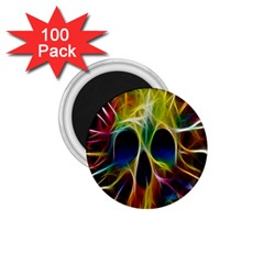 Skulls Multicolor Fractalius Colors Colorful 1.75  Magnets (100 pack)