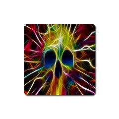 Skulls Multicolor Fractalius Colors Colorful Square Magnet