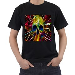 Skulls Multicolor Fractalius Colors Colorful Men s T-Shirt (Black)