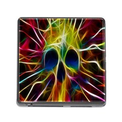 Skulls Multicolor Fractalius Colors Colorful Memory Card Reader (square)