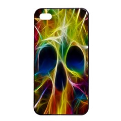 Skulls Multicolor Fractalius Colors Colorful Apple iPhone 4/4s Seamless Case (Black)
