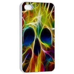 Skulls Multicolor Fractalius Colors Colorful Apple iPhone 4/4s Seamless Case (White)