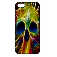 Skulls Multicolor Fractalius Colors Colorful Apple iPhone 5 Seamless Case (Black)